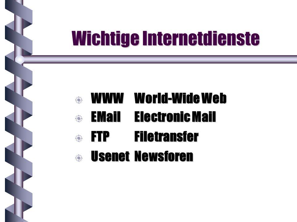 Wichtige Internetdienste b WWWWorld-Wide Web b EMailElectronic Mail b FTPFiletransfer b UsenetNewsforen