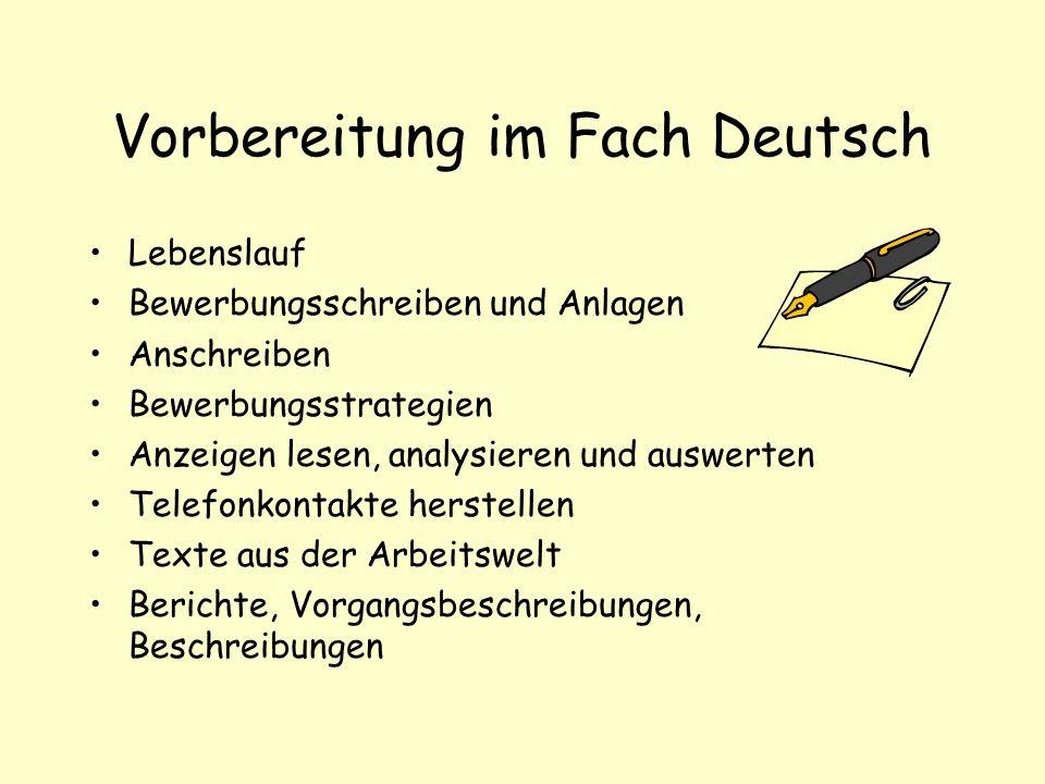 Vorbereitung im Fach Deutsch Lebenslauf Bewerbungsschreiben und Anlagen Anschreiben Bewerbungsstrategien Anzeigen lesen, analysieren und auswerten Tel