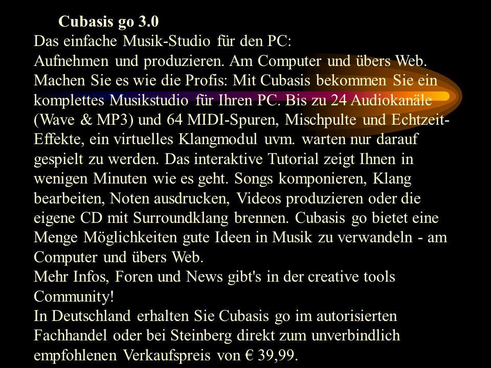Cubasis go 3.0 Das einfache Musik-Studio für den PC: Aufnehmen und produzieren. Am Computer und übers Web. Machen Sie es wie die Profis: Mit Cubasis b