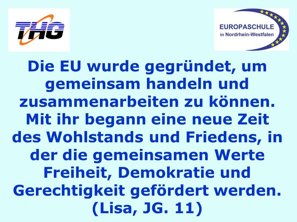 Die EU wurde gegründet, um gemeinsam handeln und zusammenarbeiten zu können. Mit ihr begann eine neue Zeit des Wohlstands und Friedens, in der die gem