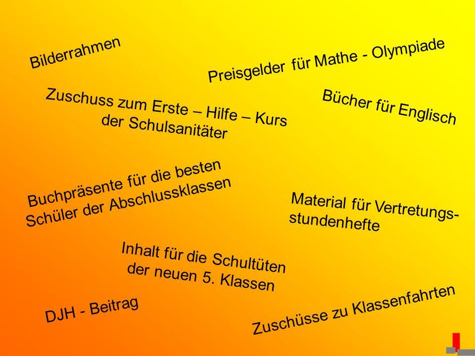 Bilderrahmen Preisgelder für Mathe - Olympiade Zuschuss zum Erste – Hilfe – Kurs der Schulsanitäter Bücher für Englisch Buchpräsente für die besten Sc