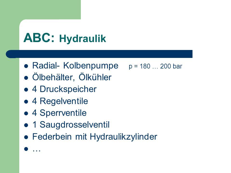 ABC: Hydraulik Radial- Kolbenpumpe p = 180 … 200 bar Ölbehälter, Ölkühler 4 Druckspeicher 4 Regelventile 4 Sperrventile 1 Saugdrosselventil Federbein
