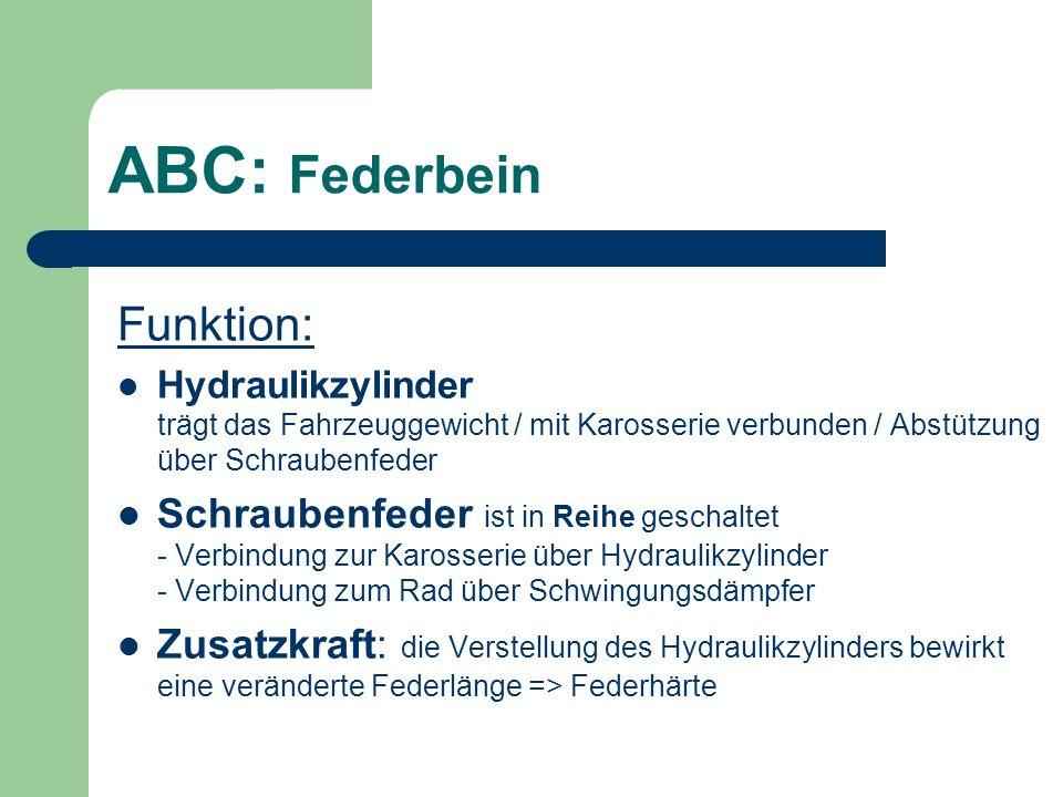 ABC: Federbein Funktion: Hydraulikzylinder trägt das Fahrzeuggewicht / mit Karosserie verbunden / Abstützung über Schraubenfeder Schraubenfeder ist in