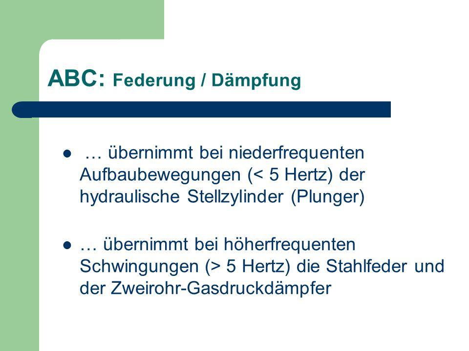 ABC Federung / Dämpfung Folgende Aufbaubewegungen werden minimiert und optimal gedämpft: Hubbewegungen: durch Fahrbahnunebenheiten Nickbewegungen: durch Bremsen / Beschleunigen Wanken: bei Kurvenfahrt