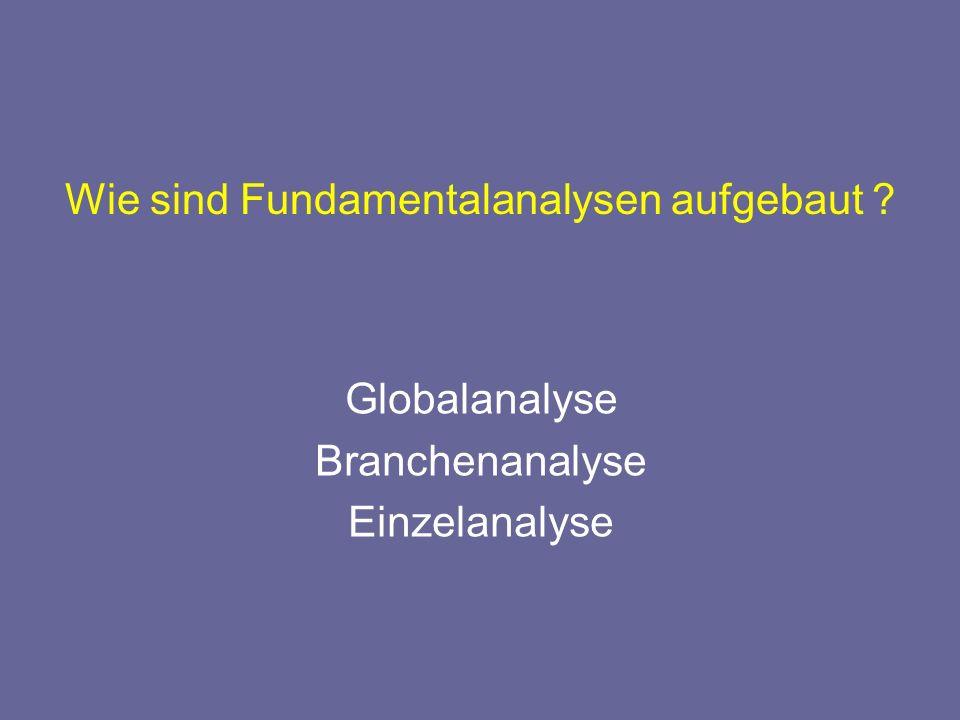Wie sind Fundamentalanalysen aufgebaut ? Globalanalyse Branchenanalyse Einzelanalyse