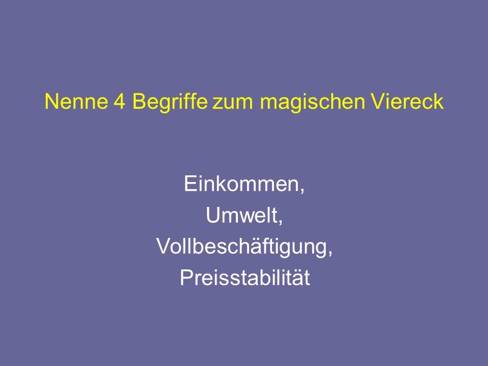 Nenne 4 Begriffe zum magischen Viereck Einkommen, Umwelt, Vollbeschäftigung, Preisstabilität