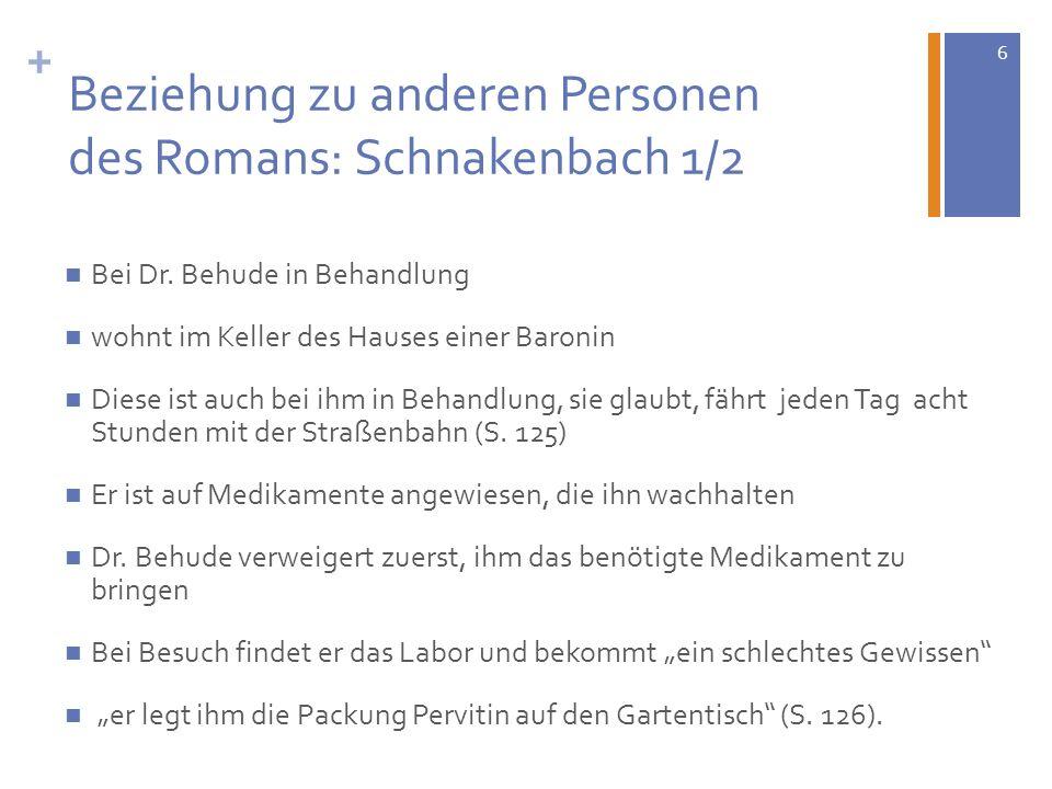6 + Beziehung zu anderen Personen des Romans: Schnakenbach 1/2 Bei Dr. Behude in Behandlung wohnt im Keller des Hauses einer Baronin Diese ist auch be