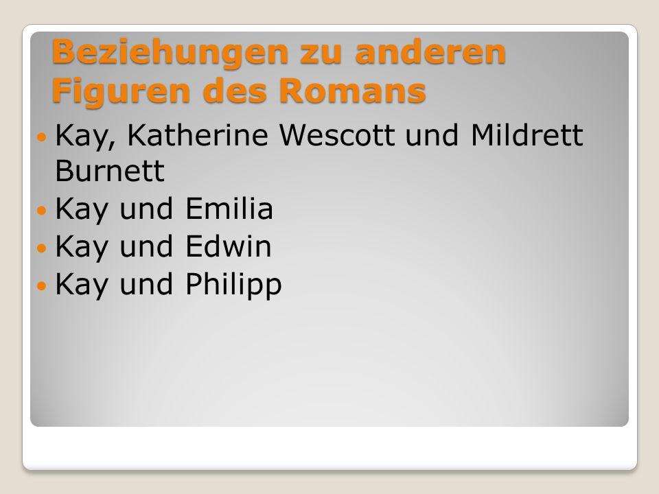 Beziehungen zu anderen Figuren des Romans Kay, Katherine Wescott und Mildrett Burnett Kay und Emilia Kay und Edwin Kay und Philipp