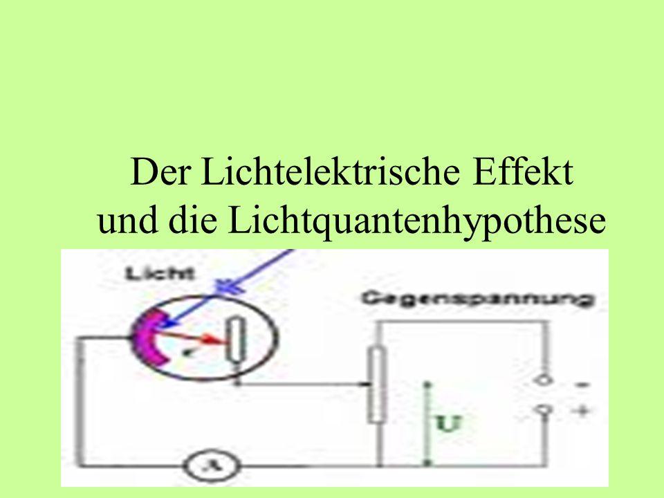 Die Lichtquantenhypothese Die beiden Thesen unterscheiden sich allerdings darin : -> Planck sagt, dass Licht nur in Quanten absorbiert oder emittiert wird -> Einstein allerdings behauptet, dass das Licht selbst aus Teilchen besteht (Photonen) Die Energie der Photonen (Lichtquant) wird durch folgende Formel beschrieben :
