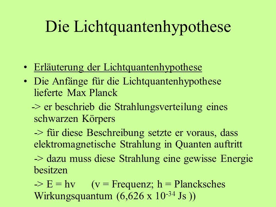 Die Lichtquantenhypothese Erläuterung der Lichtquantenhypothese Die Anfänge für die Lichtquantenhypothese lieferte Max Planck -> er beschrieb die Stra