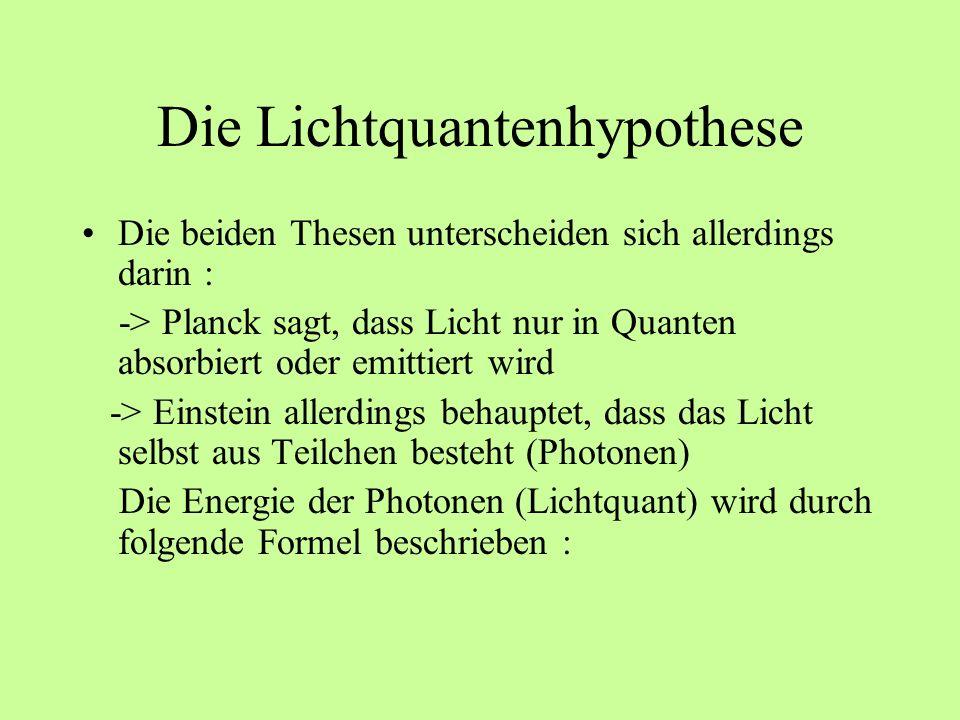 Die Lichtquantenhypothese Die beiden Thesen unterscheiden sich allerdings darin : -> Planck sagt, dass Licht nur in Quanten absorbiert oder emittiert