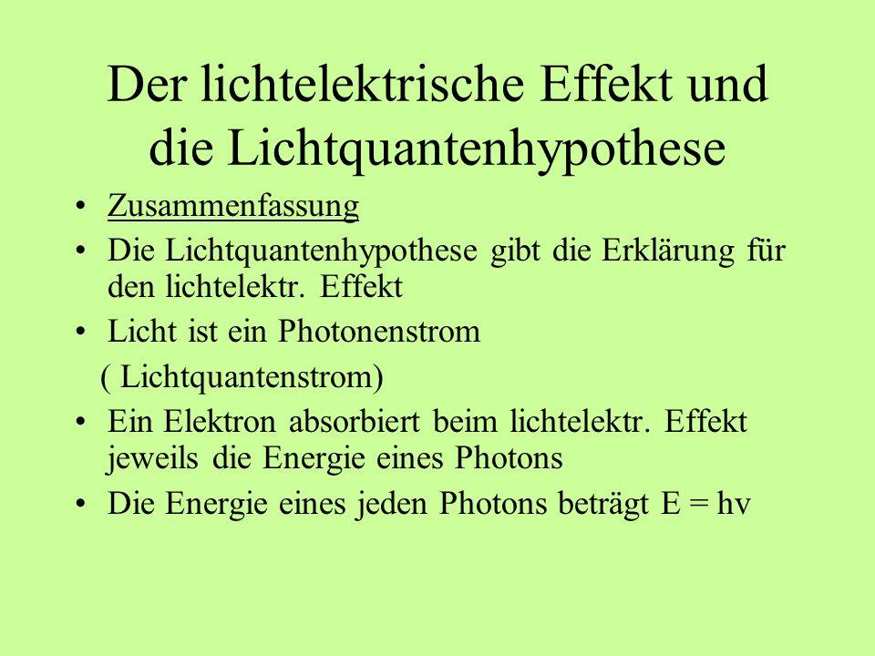 Der lichtelektrische Effekt und die Lichtquantenhypothese Zusammenfassung Die Lichtquantenhypothese gibt die Erklärung für den lichtelektr. Effekt Lic