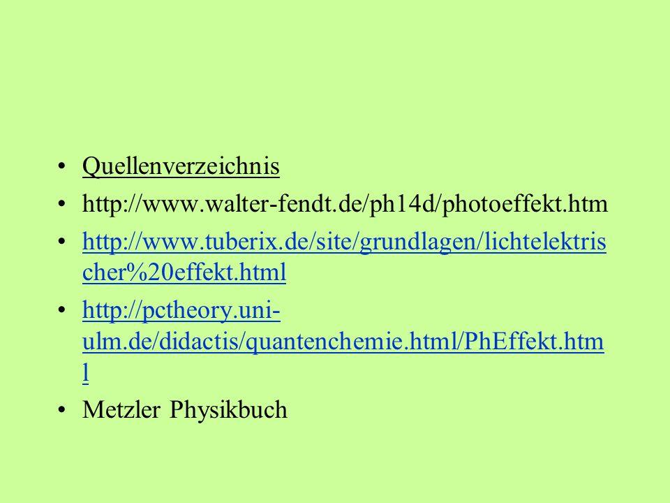 Quellenverzeichnis http://www.walter-fendt.de/ph14d/photoeffekt.htm http://www.tuberix.de/site/grundlagen/lichtelektris cher%20effekt.htmlhttp://www.t