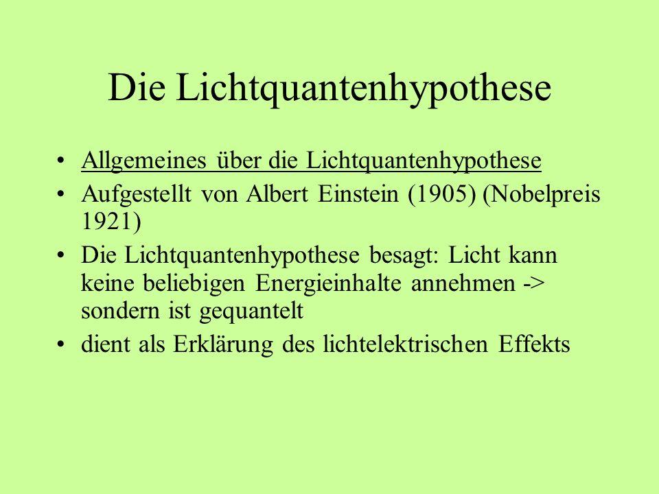 Die Lichtquantenhypothese Erläuterung der Lichtquantenhypothese Die Anfänge für die Lichtquantenhypothese lieferte Max Planck -> er beschrieb die Strahlungsverteilung eines schwarzen Körpers -> für diese Beschreibung setzte er voraus, dass elektromagnetische Strahlung in Quanten auftritt -> dazu muss diese Strahlung eine gewisse Energie besitzen -> E = hv (v = Frequenz; h = Plancksches Wirkungsquantum (6,626 x 10 -34 Js ))