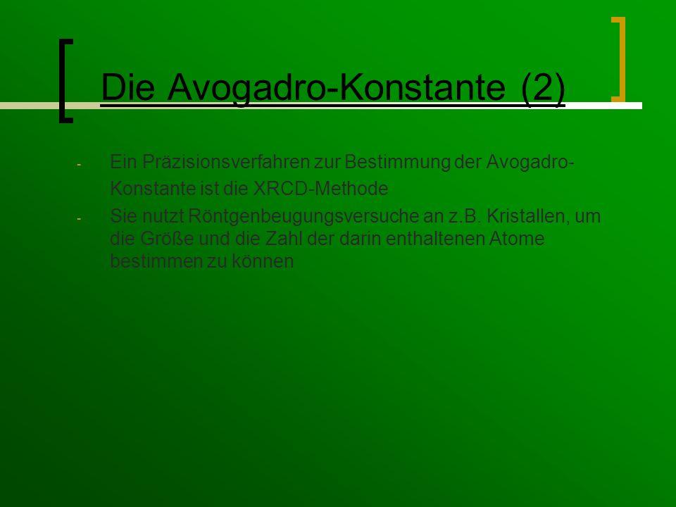 Die Avogadro-Konstante (2) - Ein Präzisionsverfahren zur Bestimmung der Avogadro- Konstante ist die XRCD-Methode - Sie nutzt Röntgenbeugungsversuche an z.B.
