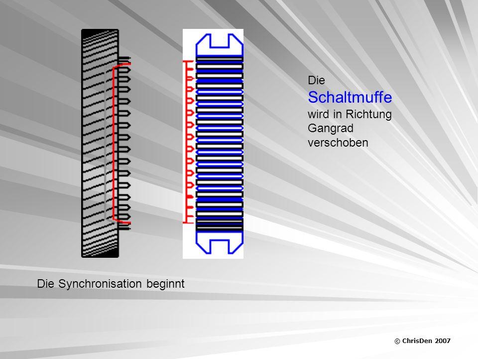© ChrisDen 2007 Die Schaltmuffe wird in Richtung Gangrad verschoben Der Synchronkörper stellt sich Bei ungleicher Geschwindigkeit der Schaltmuffe in den Weg