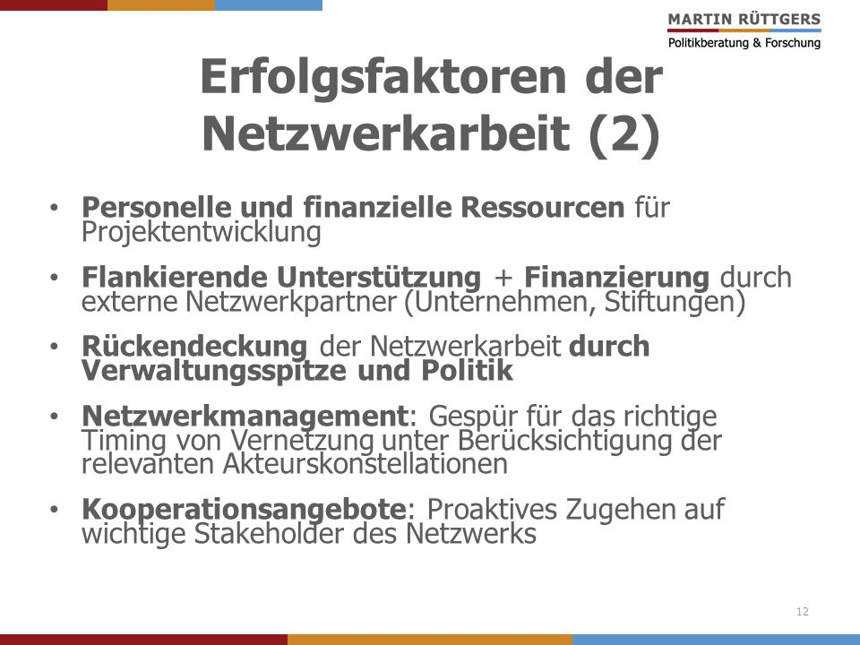 Erfolgsfaktoren der Netzwerkarbeit (2) Personelle und finanzielle Ressourcen für Projektentwicklung Flankierende Unterstützung + Finanzierung durch ex