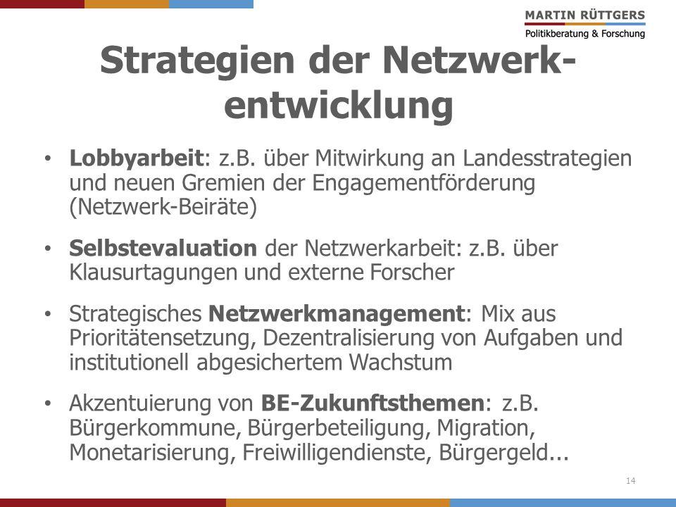 Strategien der Netzwerk- entwicklung Lobbyarbeit: z.B. über Mitwirkung an Landesstrategien und neuen Gremien der Engagementförderung (Netzwerk-Beiräte