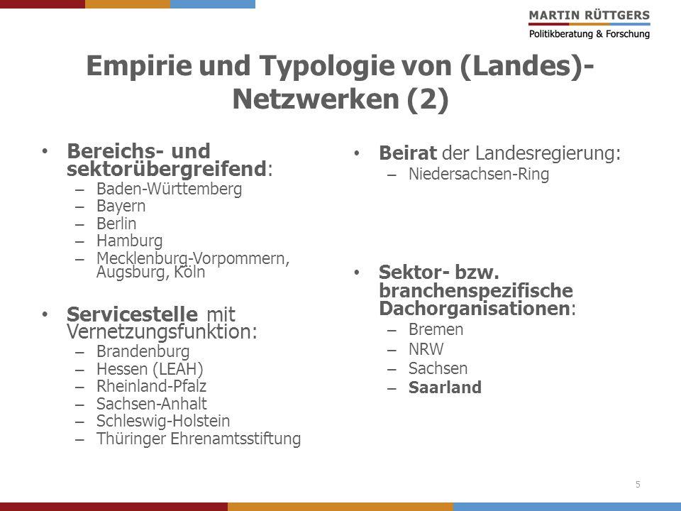 Empirie und Typologie von (Landes)- Netzwerken (2) Bereichs- und sektorübergreifend: – Baden-Württemberg – Bayern – Berlin – Hamburg – Mecklenburg-Vor