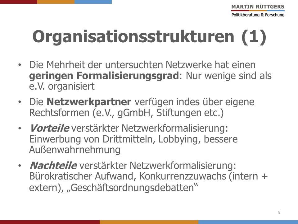 Organisationsstrukturen (1) Die Mehrheit der untersuchten Netzwerke hat einen geringen Formalisierungsgrad: Nur wenige sind als e.V. organisiert Die N