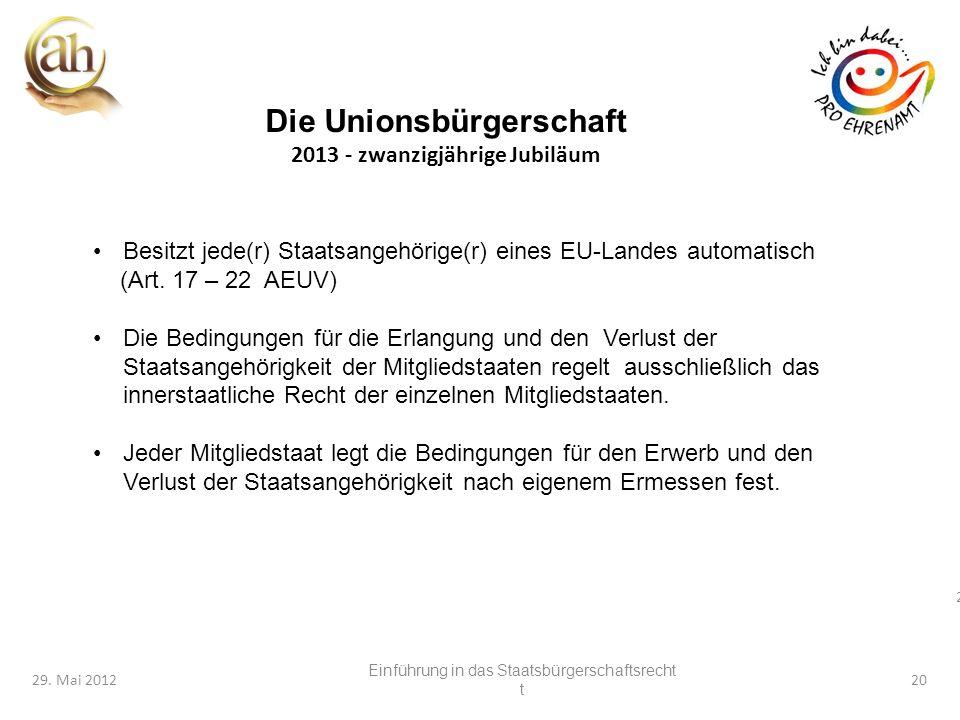 20 29. Mai 201220 Besitzt jede(r) Staatsangehörige(r) eines EU-Landes automatisch (Art. 17 – 22 AEUV) Die Bedingungen für die Erlangung und den Verlus