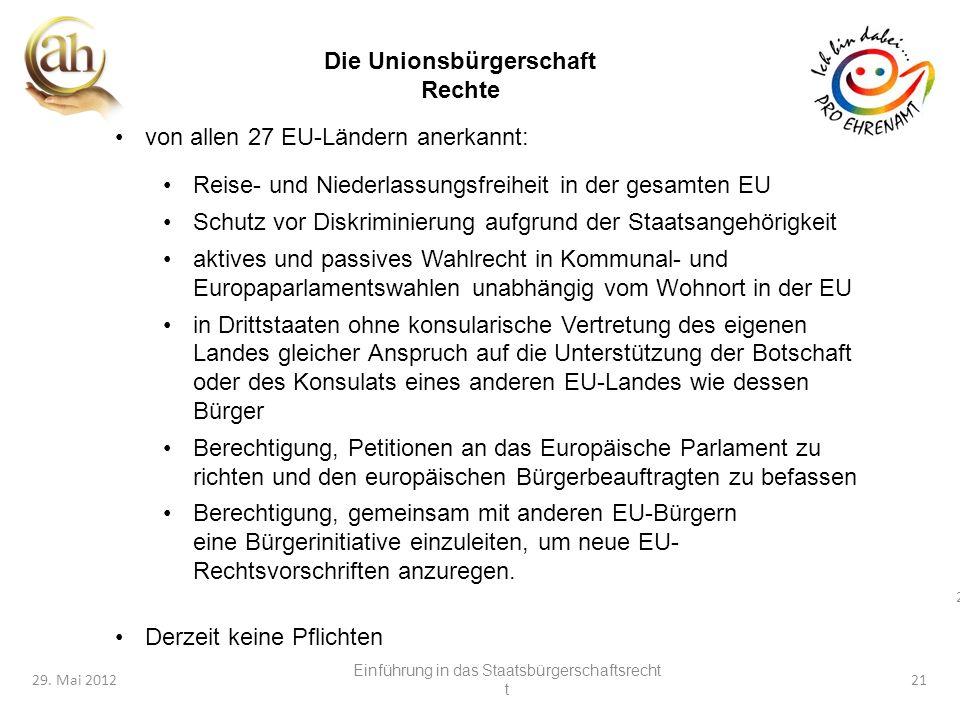 21 29. Mai 201221 von allen 27 EU-Ländern anerkannt: Reise- und Niederlassungsfreiheit in der gesamten EU Schutz vor Diskriminierung aufgrund der Staa