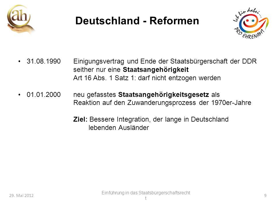 9 29. Mai 20129 Deutschland - Reformen 31.08.1990Einigungsvertrag und Ende der Staatsbürgerschaft der DDR seither nur eine Staatsangehörigkeit Art 16