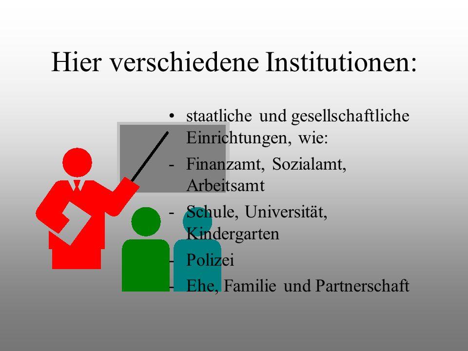 Hier verschiedene Institutionen: staatliche und gesellschaftliche Einrichtungen, wie: -Finanzamt, Sozialamt, Arbeitsamt -Schule, Universität, Kindergarten -Polizei -Ehe, Familie und Partnerschaft