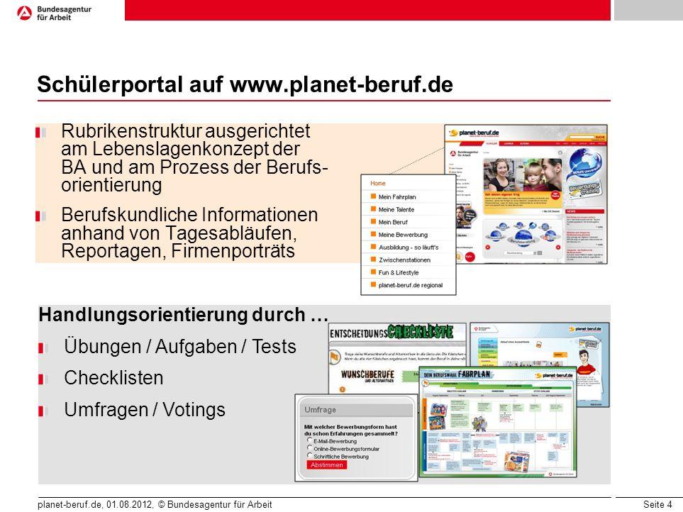 Seite 5 planet-beruf.de, 01.08.2012, © Bundesagentur für Arbeit Schülerportal auf www.planet-beruf.de Prominente als Träger von Kernbotschaften Infotainment Puzzle, Quiz, Rätsel, Spiele Witze, E-Cards, Selbstchecks Videos