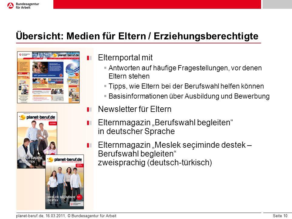 Seite 10 planet-beruf.de, 16.03.2011, © Bundesagentur für Arbeit Übersicht: Medien für Eltern / Erziehungsberechtigte Elternportal mit Antworten auf h