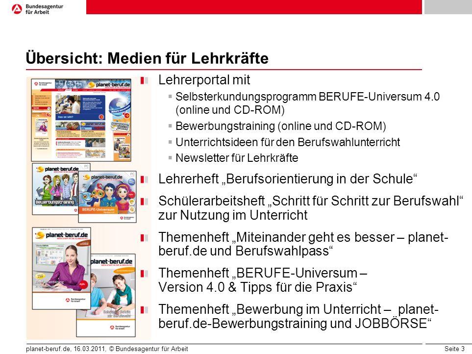 Seite 3 planet-beruf.de, 16.03.2011, © Bundesagentur für Arbeit Übersicht: Medien für Lehrkräfte Lehrerportal mit Selbsterkundungsprogramm BERUFE-Univ
