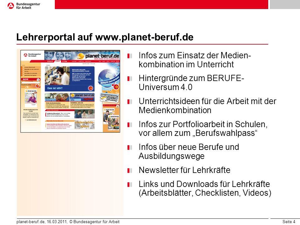 Seite 4 planet-beruf.de, 16.03.2011, © Bundesagentur für Arbeit Lehrerportal auf www.planet-beruf.de Infos zum Einsatz der Medien- kombination im Unte