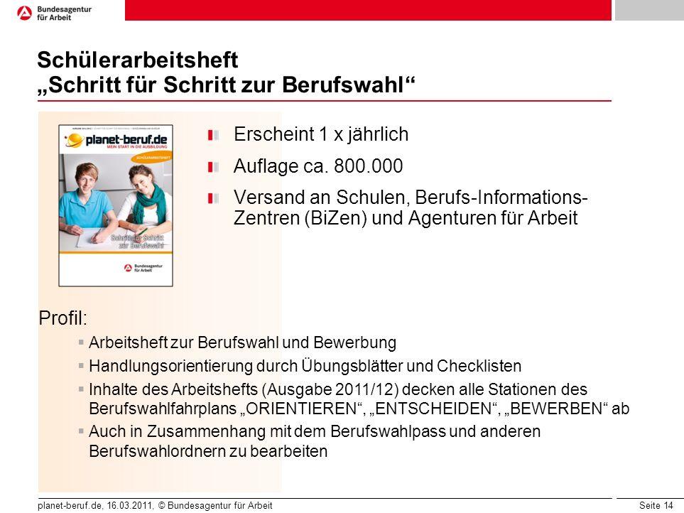 Seite 14 planet-beruf.de, 16.03.2011, © Bundesagentur für Arbeit Schülerarbeitsheft Schritt für Schritt zur Berufswahl Erscheint 1 x jährlich Auflage