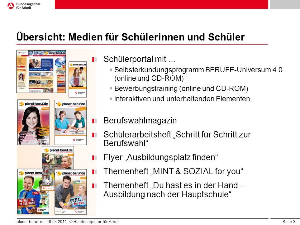 Seite 3 planet-beruf.de, 16.03.2011, © Bundesagentur für Arbeit Übersicht: Medien für Schülerinnen und Schüler Schülerportal mit … Selbsterkundungspro