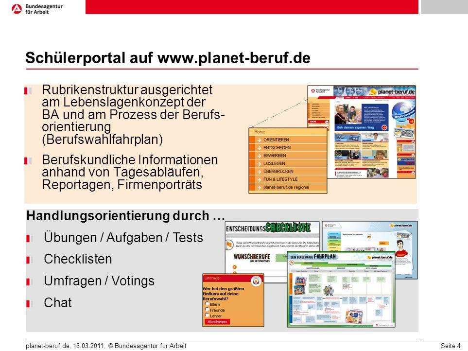Seite 5 planet-beruf.de, 16.03.2011, © Bundesagentur für Arbeit Schülerportal auf www.planet-beruf.de Prominente als Träger von Kernbotschaften Infotainment Puzzle, Quiz, Rätsel, Spiele Witze, E-Cards, Selbstchecks Videos