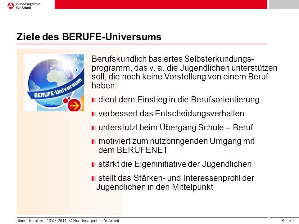 Seite 7 planet-beruf.de, 16.03.2011, © Bundesagentur für Arbeit Ziele des BERUFE-Universums Berufskundlich basiertes Selbsterkundungs- programm, das v