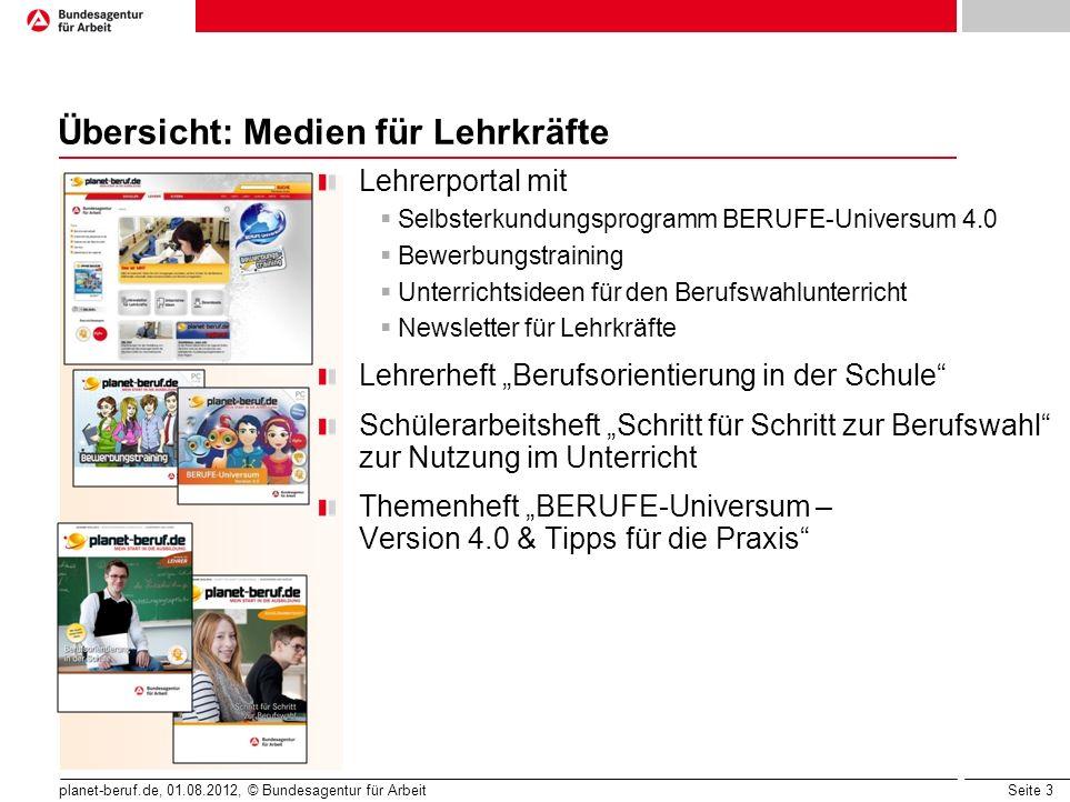 Seite 3 planet-beruf.de, 01.08.2012, © Bundesagentur für Arbeit Übersicht: Medien für Lehrkräfte Lehrerportal mit Selbsterkundungsprogramm BERUFE-Univ