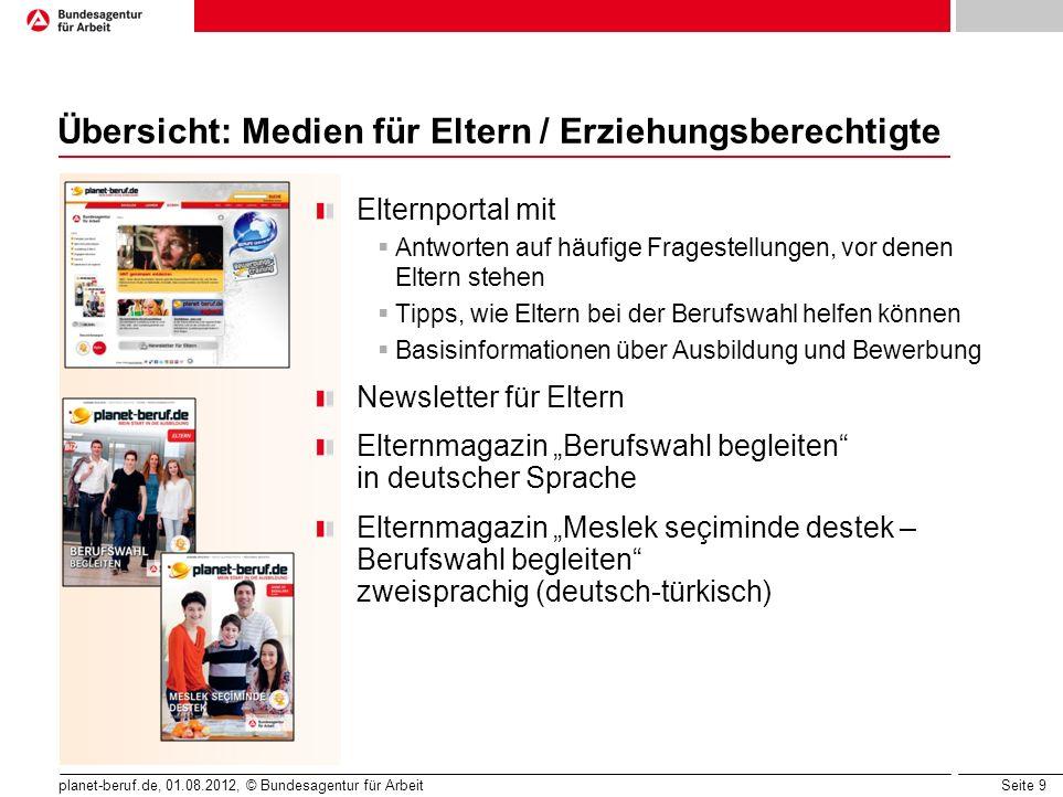 Seite 9 planet-beruf.de, 01.08.2012, © Bundesagentur für Arbeit Übersicht: Medien für Eltern / Erziehungsberechtigte Elternportal mit Antworten auf hä