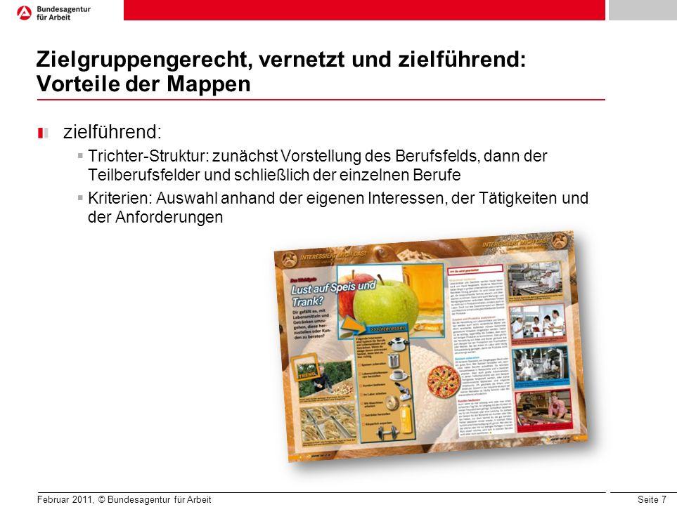 Seite 7 Februar 2011, © Bundesagentur für Arbeit Zielgruppengerecht, vernetzt und zielführend: Vorteile der Mappen zielführend: Trichter-Struktur: zun