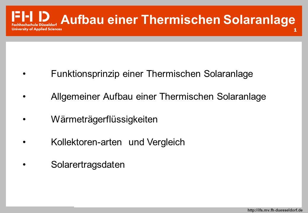 1 Prof. Dr.-Ing. Frank Kameier © 2009 http://ifs.mv.fh-duesseldorf.de Funktionsprinzip einer Thermischen Solaranlage Allgemeiner Aufbau einer Thermisc