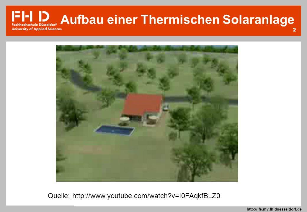 2 Prof. Dr.-Ing. Frank Kameier © 2009 http://ifs.mv.fh-duesseldorf.de Quelle: http://www.youtube.com/watch?v=I0FAqkfBLZ0 Aufbau einer Thermischen Sola