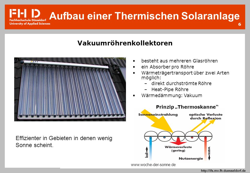 6 Prof. Dr.-Ing. Frank Kameier © 2009 http://ifs.mv.fh-duesseldorf.de Vakuumröhrenkollektoren Effizienter in Gebieten in denen wenig Sonne scheint. be