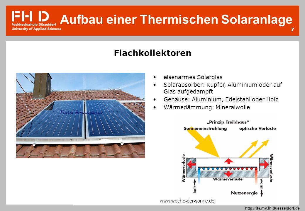 7 Prof. Dr.-Ing. Frank Kameier © 2009 http://ifs.mv.fh-duesseldorf.de Flachkollektoren eisenarmes Solarglas Solarabsorber: Kupfer, Aluminium oder auf