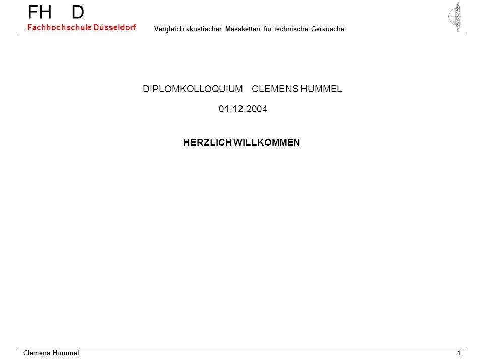 Clemens Hummel FH D Fachhochschule Düsseldorf Vergleich akustischer Messketten für technische Geräusche 1 DIPLOMKOLLOQUIUM CLEMENS HUMMEL HERZLICH WIL