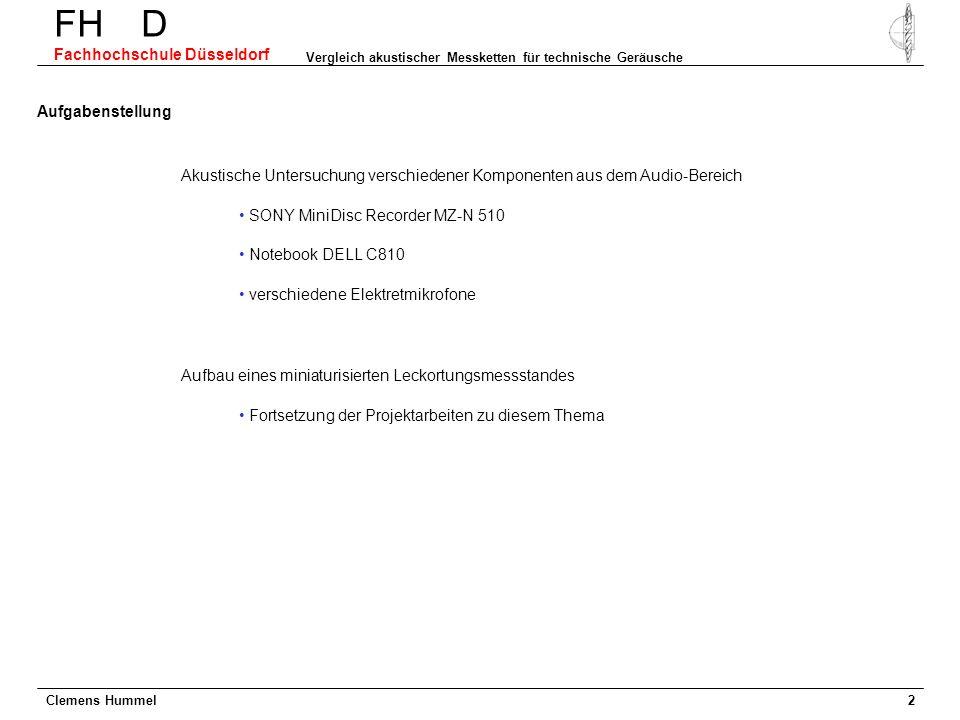 Clemens Hummel FH D Fachhochschule Düsseldorf Vergleich akustischer Messketten für technische Geräusche 2 Akustische Untersuchung verschiedener Kompon