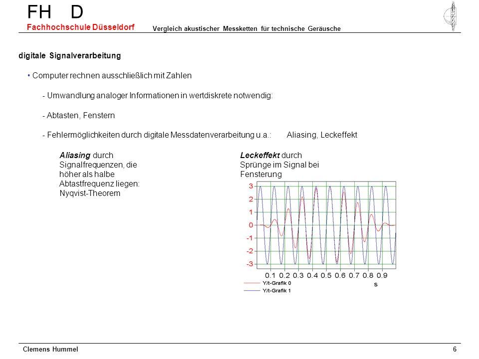 Clemens Hummel FH D Fachhochschule Düsseldorf Vergleich akustischer Messketten für technische Geräusche 6 digitale Signalverarbeitung Computer rechnen