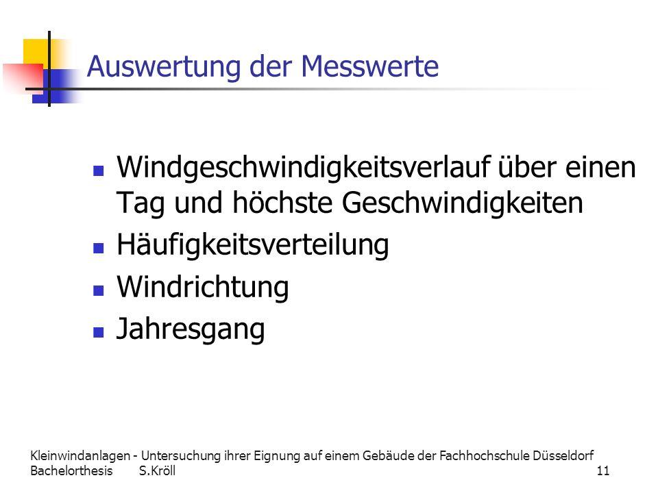 Kleinwindanlagen - Untersuchung ihrer Eignung auf einem Gebäude der Fachhochschule Düsseldorf Bachelorthesis S.Kröll 11 Auswertung der Messwerte Windg