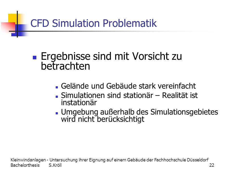 Kleinwindanlagen - Untersuchung ihrer Eignung auf einem Gebäude der Fachhochschule Düsseldorf Bachelorthesis S.Kröll 22 CFD Simulation Problematik Erg