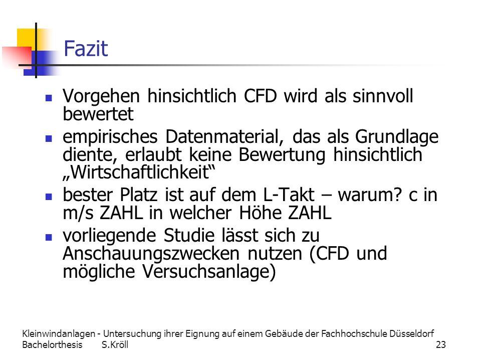 Kleinwindanlagen - Untersuchung ihrer Eignung auf einem Gebäude der Fachhochschule Düsseldorf Bachelorthesis S.Kröll 23 Fazit Vorgehen hinsichtlich CF