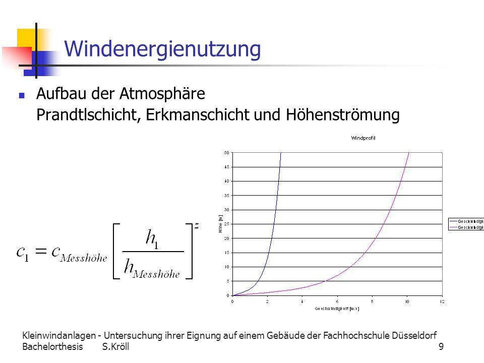 Kleinwindanlagen - Untersuchung ihrer Eignung auf einem Gebäude der Fachhochschule Düsseldorf Bachelorthesis S.Kröll 10 Windenergienutzung Im Wind enthaltene Leistung Schubkräfte Wofür wichtig.